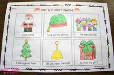 FREE Christmas version...Students read the sentence, cut it out, glue it under the correct picture