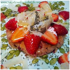 Breakfast pancake. Free of gluten,dairy and processed sugar. A beetroot and coconut pancake topped with fresh strawberries, seeds, nuts and raw organic honey. #paleo #primal #pancake #health #healthy #healthspo #fitspo #fitnessfood #fitfood #fitdiet #jerf