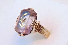 Victorian Amethyst Diamond Rose of Sharon Ring in 10K Rose Gold, Yellow Gold by EclairJewelry on Etsy