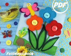 SALE! Flowers in a meadow | PDF | Quiet Book | Felt Busy Book | Toddler book | Activity Book | Fabric quiet book