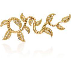 Mallarino Maryam Vine Single Earring ($3,000) ❤ liked on Polyvore featuring jewelry, earrings, gold, vine earrings, vine jewelry, mallarino, filigree jewelry and filigree earrings