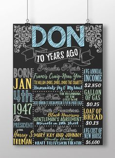 1947 birthday board 1947 facts 1947 history by CustomPrintablesNY