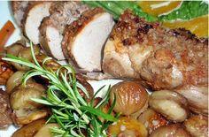 LOMBINHO ASSADO COM CASTANHAS - Receitas Para Todos os Gostos Pork, Turkey, Chicken, Meat, Portuguese, Oven Roasted Pork Tenderloin, Stuffed Pork, Sint Maarten, Meat Recipes