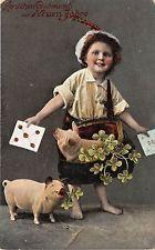 BG8521 pig clover boy couchon  neujahr new year greetings germany