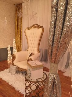Chair of honor at a winter wonderland baby shower party! See more party planning ideas at CatchMyParty.com!