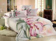 US$100.99 Exquisite Large Flowers 100% Cotton Active Printing 4 Piece Comforter Bedding Sets. #3D #Cotton #4 #Comforter