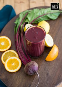 CITRUS BEET CLEANSER 2 cups beet greens or chard 1 cup water 2 oranges, peeled 1 small raw beet, peeled and diced Juice of ½ lemon  1. Blend beet greens, water, and oranges until smooth.  2. Add beet, and blend until smooth. Enjoy!