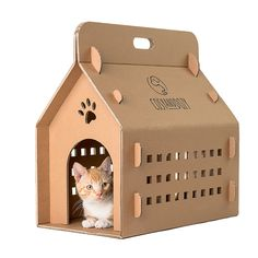 Cardboard box, cat box, cat carrier, eco carry box, cat house, cat bed, cat transport, cat furniture, cat cave, trending items, cats