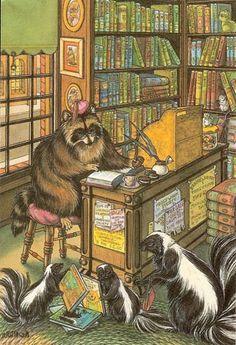 O Lobo Leitor: A biblioteca dos animais I want to wear a little smoking cap at the circulation desk.