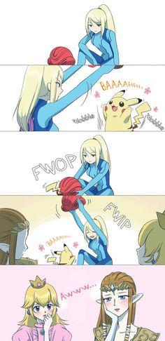Samus and Pikachu are so cute. Super Smash Bros Brawl, Nintendo Super Smash Bros, Super Mario Bros, Otaku Anime, Anime Meme, Video Games Funny, Funny Games, Metroid Samus, Samus Aran