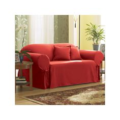 Sure Fit Solid Duck Cloth Loveseat Slipcover, Red