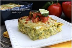 Homemade Roasted Poblano & Jalapeno Sauce with roasted corn and three-cheese filling makes for a new take on Mexican lasagna.