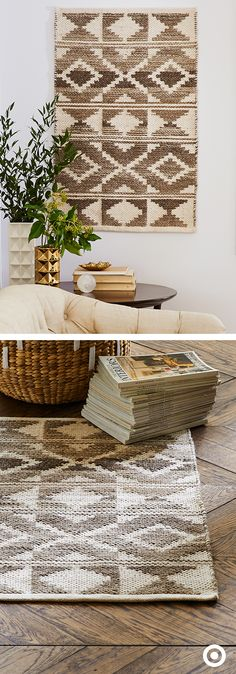 Rug, or wall art? You decide. This rug from Nate Berkus' spring collection brings instant style cred, no matter where you put it. Its neutral colors and graphic pattern make it an easy addition to any room or surface.