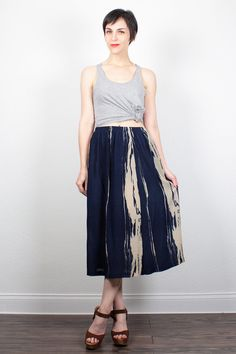 Vintage Midi Skirt Navy Blue Tan Gauze Skirt 1990s Skirt Knee Length Skirt 90s Skirt Hippie Skirt Soft Grunge Skirt Boho M Medium L Large XL by ShopTwitchVintage #vintage #etsy #90s #1990s #skirt #boho #midi #midiskirt #hippie #softgrunge