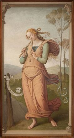 Euterpe, Muse of Lyric Poetry and Music, was painted by Egide Godfried Guffens (1823-1901). This painting is in the public domain in the US and those countries with a copyright term of life of the artist plus 100 years or less.
