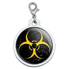 Biohazard Warning Symbol Yellow Zombies Distressed Large Chrome Plated Metal Pet Dog Cat ID Tag ** Be sure to check out this awesome product.