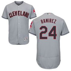 6bdb52240ff Indians  24 Manny Ramirez Grey Flexbase Authentic Collection Stitched MLB  Jersey Jim Thome