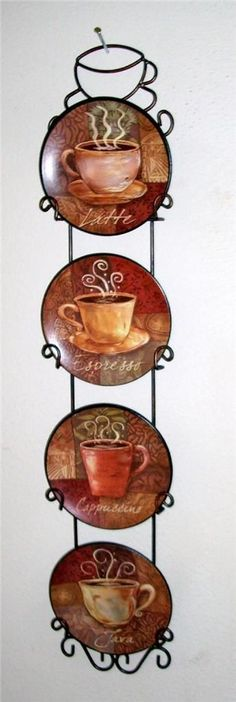 4 piece coffee house bistro cafe wall plate rack set decor interior kitchen home Cafe Kitchen Decor, Coffee Theme Kitchen, Coffee Bars In Kitchen, Kitchen Clocks, Kitchen Decor Themes, Kitchen Interior, Home Decor, Cafe Themed Kitchen, Decorating Kitchen