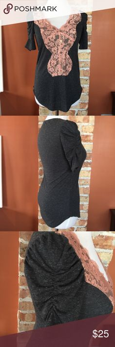 """Daytrip top Charcoal gray and pink v-neck...gathered sleeves...pink lace...curved hem...multi colored buttons...there is one spot where the lace is snagged, as seen in 4th photo, but not too noticeable. 25.5"""" from shoulder to longest part of hem. 14.5"""" pit to pit. Daytrip Tops"""
