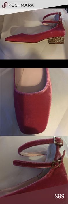 Kate Spade Flats New pink velvet Kate Spade Flats with Glitter heels! size 6 and two ankle straps baby doll style!!! Kate Spade Shoes Flats & Loafers