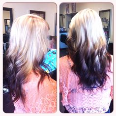 Reverse ombre blonde to dark brown