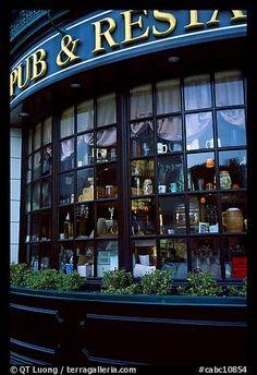 Pub and restaurant windows. Victoria, British Columbia, Canada (color)