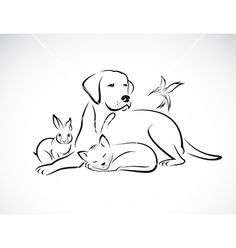 Group of pets on VectorStock