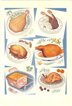 Billedresultat for restaurant vintage illustration Retro Recipes, Vintage Recipes, Vintage Food, Meat Drawing, Bbq World, Smoke Tree, Bar B Que, Food Illustrations, Vintage Colors