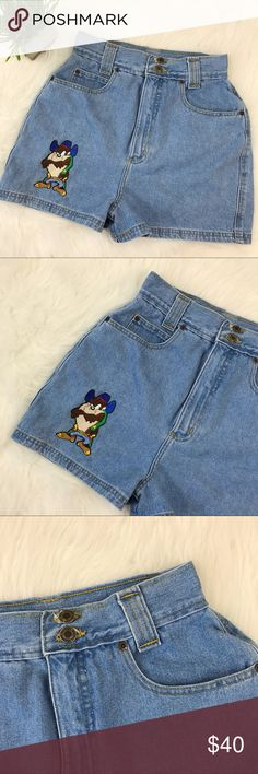 "Vintage Looney Toons | High Waisted Jean Shorts Vintage Looney Toons high waisted denim shorts with Taz embroidery. Excellent condition. Size tag reads 13. Waist is 26"" Hips is 38"" Rise is 13"" Inseam is 3"" Vintage Shorts Jean Shorts"