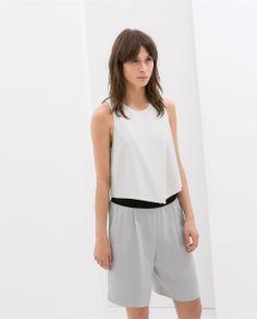 89745078c0 Image 1 of STUDIO TOP WITH FRONT SLIT from Zara Summer Crop Tops