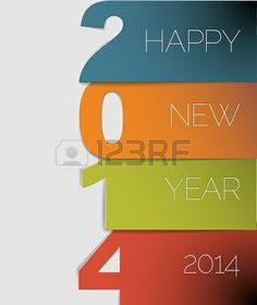 happy new year 2014 card blue orange green and red