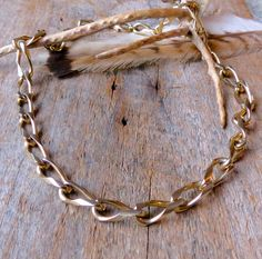 Gold link necklace Chunky chain necklace Curb by EcolibrioVintage