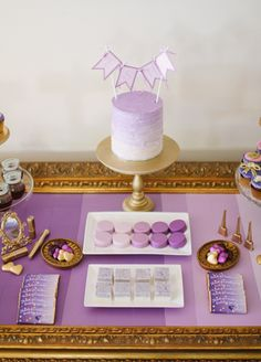 Purple & Gold Dessert Table, good work for Emerson grads :'-( tear already miss that place