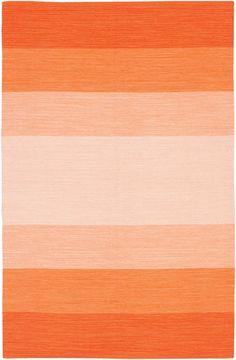 Love this bright orange striped ombre rug!