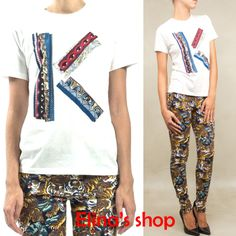 fashion women spring 2014 letter K eyes print short sleeve Tee t-shirt s m l xl blac/pink/white/yellow $563,73