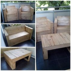 Some furniture\'s (chair, bench, table) I\'ve made with recycled pallets. More photos at deccoria website. [symple_box color=\