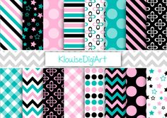 Pink and Blue Digital Paper, Black Scrapbook Paper, Polka Dots, Stripes, Chevron, Gingham - Personal and Small Commercial Use (0092)