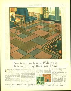 1927 Art Deco Ad Armstrong's Linoleum Beautiful Flooring