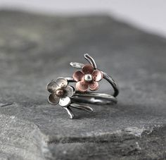 Cherry Blossom Branch Adjustable Ring in Silver, Spring Jewelry, MADE to ORDER, Plum blossom, Twig ring, Bridal accessories, wedding jewelry via Etsy