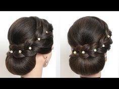YouTube Indian Bun Hairstyles, Bun Hairstyles For Long Hair, Headband Hairstyles, Updo Hairstyle, Curly Hair Updo, Curly Hair Styles, Natural Hair Styles, Engagement Hairstyles, Wedding Bun Hairstyles