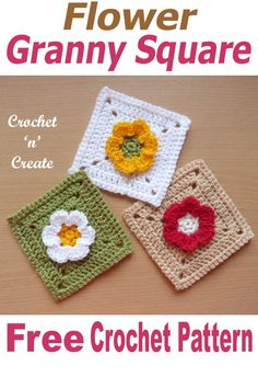 Flower granny square, free afghan crochet pattern available in UK and USA format on Free Crochet Square, Crochet Squares Afghan, Crochet Blocks, Basic Crochet Stitches, Crochet Basics, Crochet Granny, Crochet Motif, Crochet Designs, Crochet Flowers