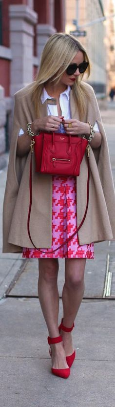 c148c07cf48 Camel beige cape coat with white collared button down blouse and bright  pink hounds tooth skirt with red heels and handbag. Pop of Colour   Color.