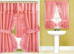 Image detail for -Pink Double Swag Fabric Shower Curtain Valance Vinyl Liner & Window ...