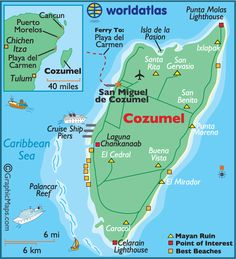 Cozumel.  Have been twice.  Once via a cruise ship.  Once as a day trip for snorkelling from Playa de Carmen.