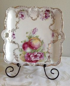 Antique Bavarian square plate with handles