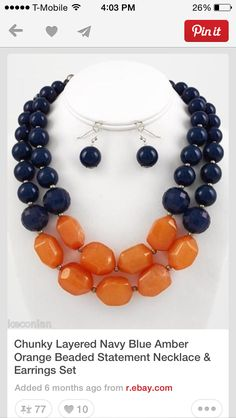 Navy orange beaded necklace