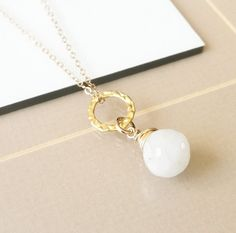 Gold Moonstone Necklace, Moonstone Necklace, Moonstone, Gold Moonstone, Gold Necklace,  Moonstone Onion Briolette, Boho Chic
