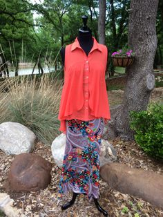 Easy Like Sunday Morning   Multi print maxi skirt and sleeveless blouse available in coral, mint and creme.   Cheerful Heart Gifts - Granbury, TX