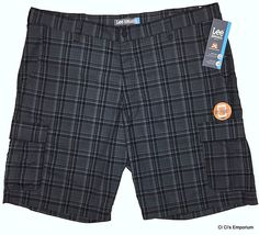 Lee Dungarees Active Comfort Cargo Shorts Mens 42 Gray Plaid Cell Phone Pocket #Lee #Cargo