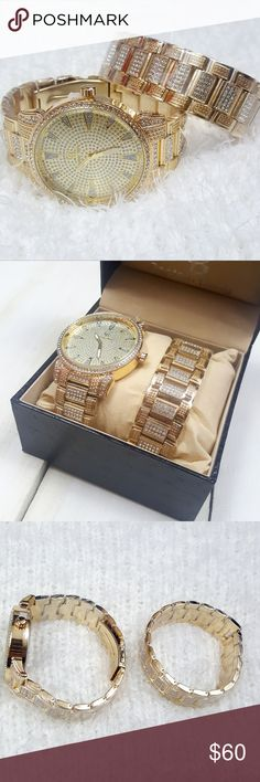 Men's Gold Tone Paved Lab Diamond Watch + Bracelet Gold tone steel watch and bracelet with glimmering lab diamonds paved throughout. Runs on battery (battery installed) and comes in crocodile pattern gift box. Makes a great gift for yourself or someone you love!  Brand new! Captain Bling Accessories Jewelry